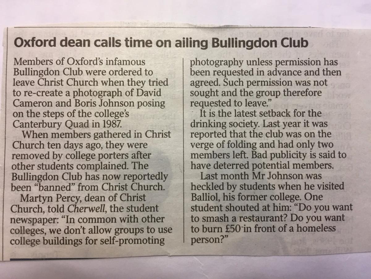 Times cutting: Bullingdon Club kicked out of ChristChurch